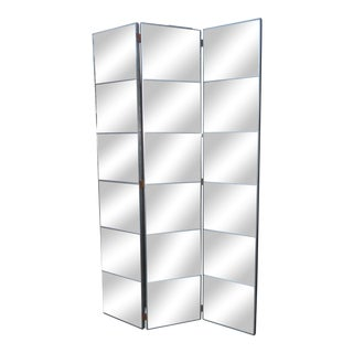 Mid-Century Modern Art Deco 3-Panel Aged Etched Mirrored Room Divider For Sale