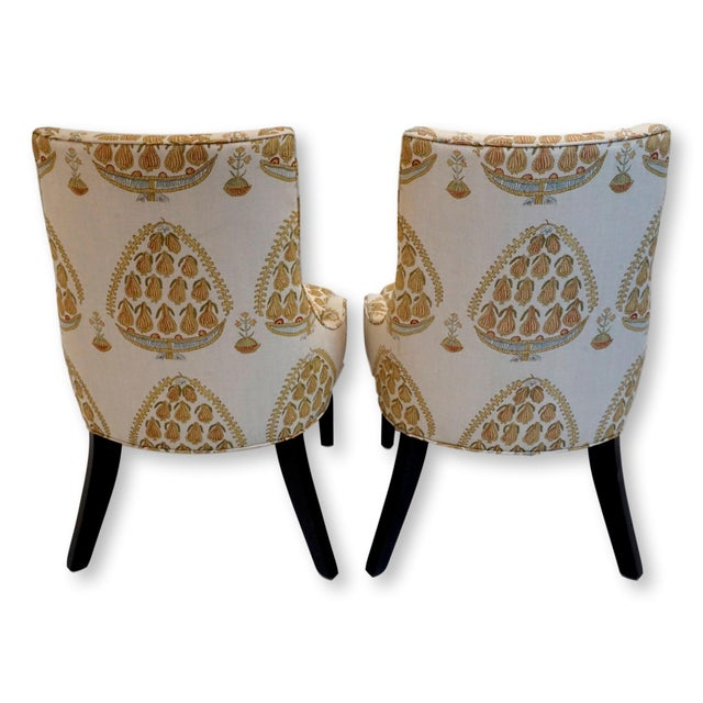 2010s John Robshaw Upholstered Accent Chairs- a Pair For Sale - Image 5 of 8