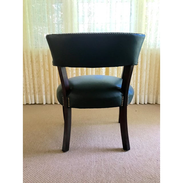 Mid Century Studded Green Leather Library Club Chair For Sale - Image 5 of 8