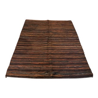 Recycled Leather Brown Rug - 4′9″ × 7′8″ For Sale