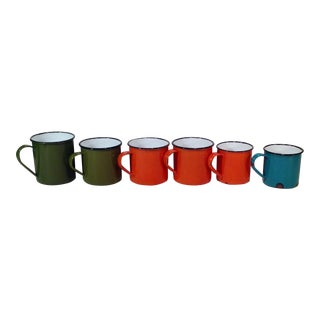 Vintage Enamel Ware Cups- Set of 6 For Sale