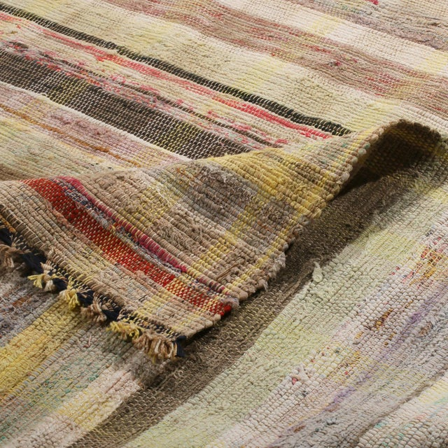 Vintage Chaput Geometric Striped Beige-Brown and Multicolor Wool Kilim Runner Rug For Sale In New York - Image 6 of 7