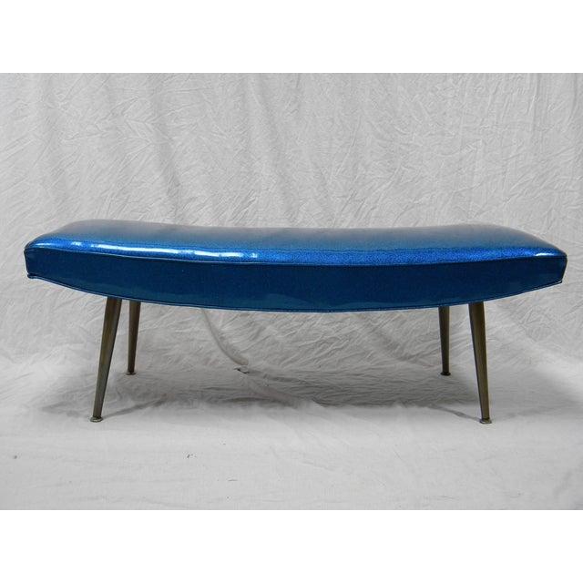 Mid-Century Modern Royal Blue Vinyl Bench - Image 2 of 5