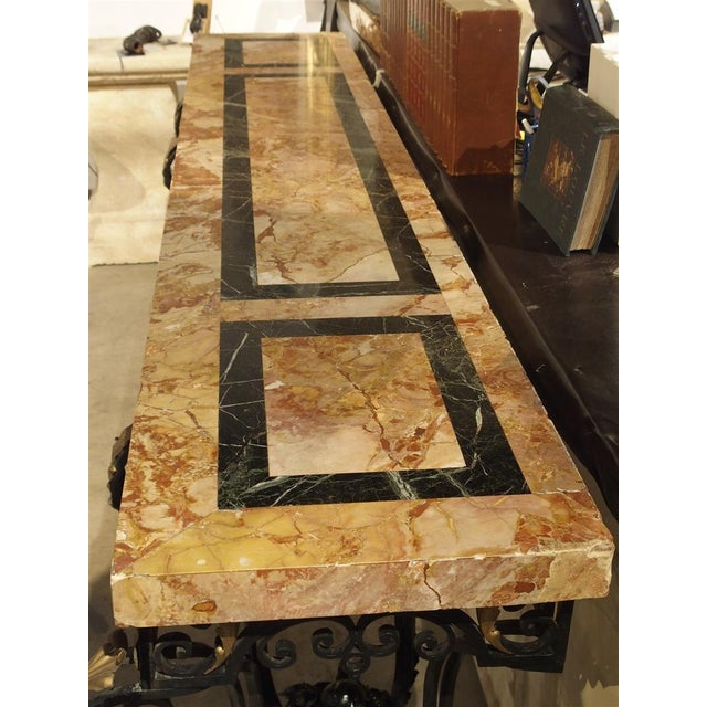 1920's French Forged Iron and Marble Console Table For Sale - Image 12 of 13