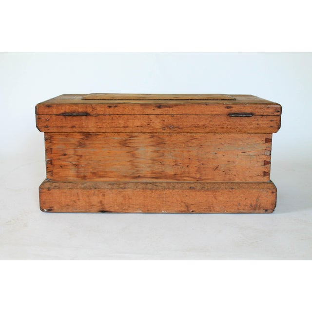 Brown Rustic Wooden Storage Trunk For Sale - Image 8 of 11