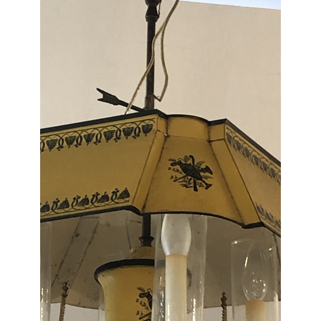 French Iron and Tole Painted 4-Arm Chandelier For Sale In Philadelphia - Image 6 of 10