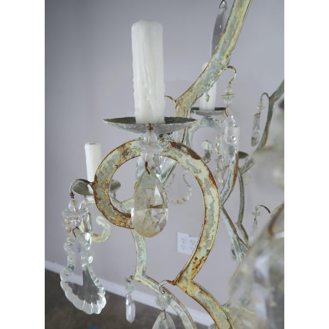 Monumental Painted Wrought Iron Crystal Chandelier For Sale In Los Angeles - Image 6 of 11