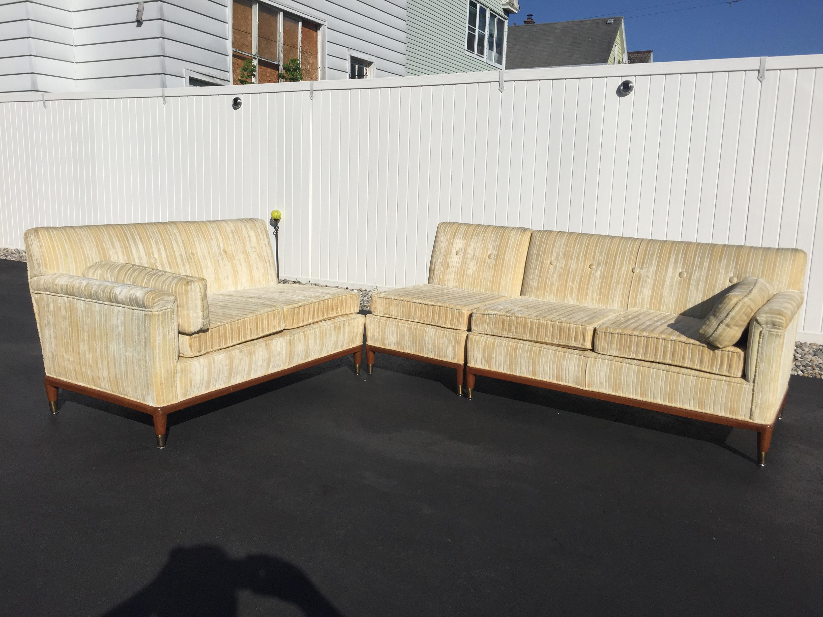 Ordinaire Mid Century Modern Striped Sectional Sofa   Set Of 3   Image 2 Of 11