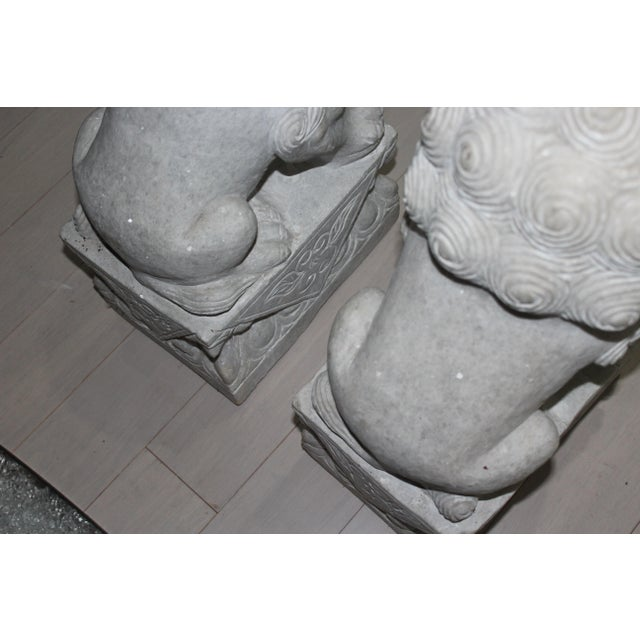 Foo Dog Stone Quartz Statues - A Pair - Image 5 of 5