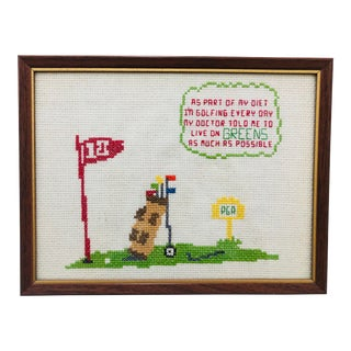Vintage Golf Cross Stitch in Frame For Sale