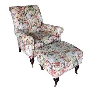 Ethan Allen Floral Chair & Ottoman