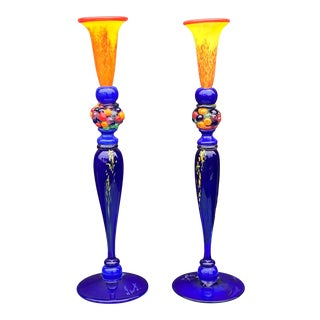 Signed European Art Glass Candle Holders - a Pair For Sale