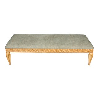 Cerused Oak Large Ottoman in Pale Blue Fabric For Sale