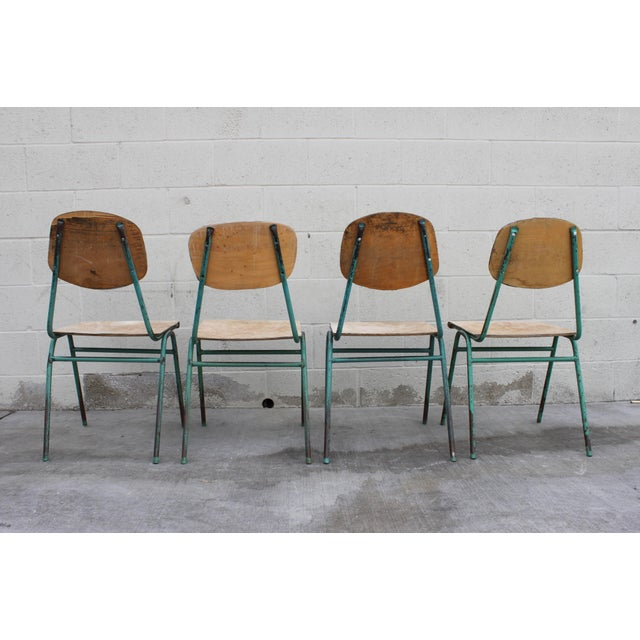 Vintage French Stacking Steel, Bentwood and Leather Schoolhouse Dining Chairs - Set of 4 For Sale - Image 10 of 11