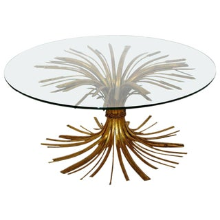 1960s Mid-Century Modern Hollywood Regency Gilt Wheat Sheaf Round Cocktail Table For Sale