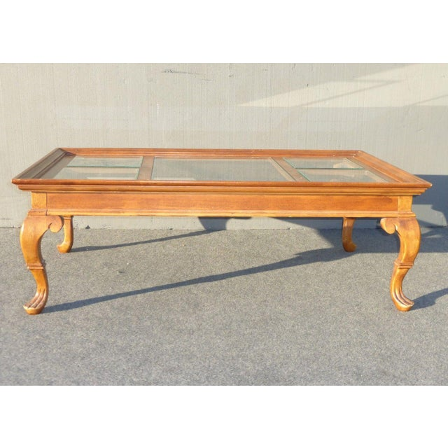 French Provincial Coffee Table For Sale: Vintage French Country Glass Top Wooden Coffee Table