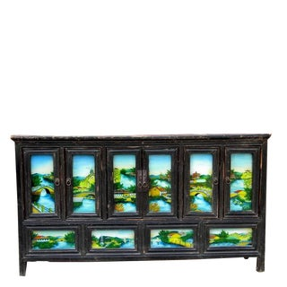 1940s Asian Antique Hand Painted Glass Doors Wedding Sideboard For Sale