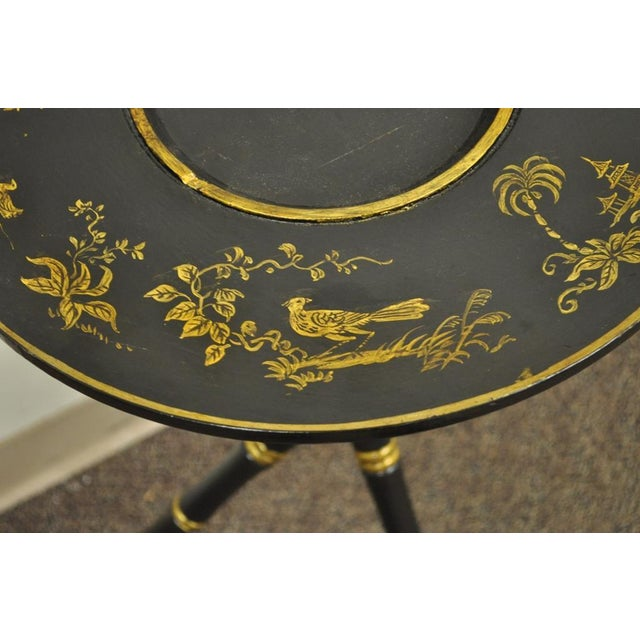 Faux Bamboo Antique Victorian English Decorated Faux Bamboo Tripod Occasional Side Table For Sale - Image 7 of 11