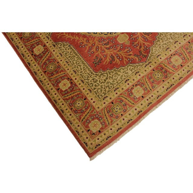 1980s Shabby Chic Istanbul Luke Rust/Gold Turkish Hand-Knotted Rug -4'10 X 5'11 For Sale - Image 5 of 8