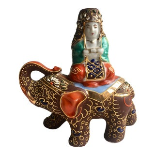 Goddess on an Elephant Incense Holder