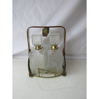 Antique Clear Glass Decanter Set in Stand With Handle Preview
