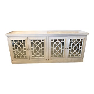 Vintage Fretwork Fret Chinese Chippendale Mirrored Cabinet Credenza Sideboard For Sale