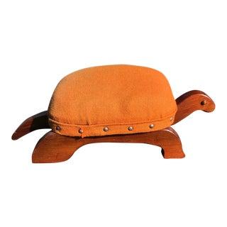 Vintage Mid Century Handmade Wooden Turtle Footstool For Sale