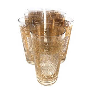 Vintage Gold Leaf Tumblers - Set of 7 For Sale