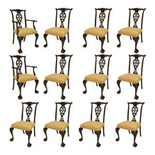 Irish George II Elm Wood & Chenille Chairs - Set of 12 For Sale