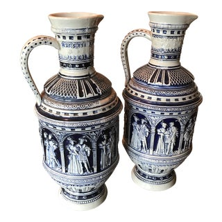 1960s Greek Revival Vessel Pitcher Vases - a Pair