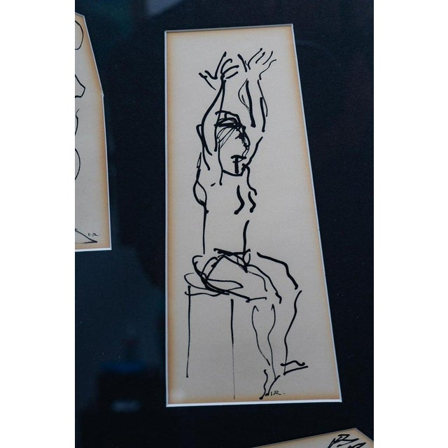 Ink Sketches of Dancers in Position - Set of 3 Framed Groups For Sale In West Palm - Image 6 of 13
