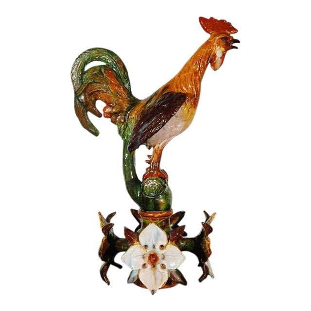 Large Terracotta Rooster Figure from Flanders For Sale