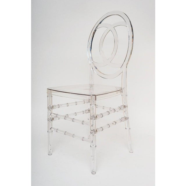 Hollywood Regency Lucite Stacking Chairs Faux Bamboo Hollywood Regency - Set of 10 For Sale - Image 3 of 13