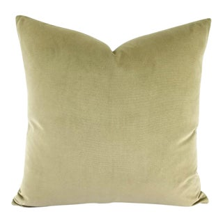 "F. Schumacher Gainsborough Velvet Sage Green Pillow Cover - 20"" X 20"" For Sale"