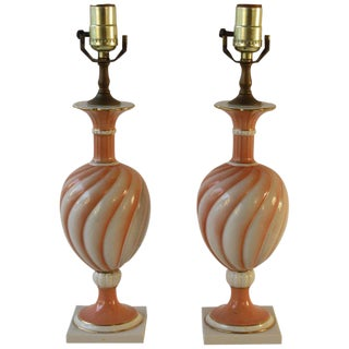 Pair of 1950s Richard Ginori Small Peach Colored Table Lamps For Sale