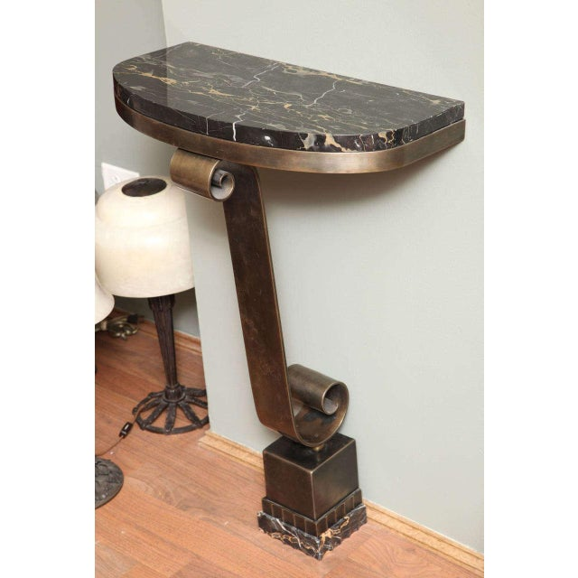 French Art Deco Console with Mirror Attributed to Raymond Subes For Sale - Image 9 of 10