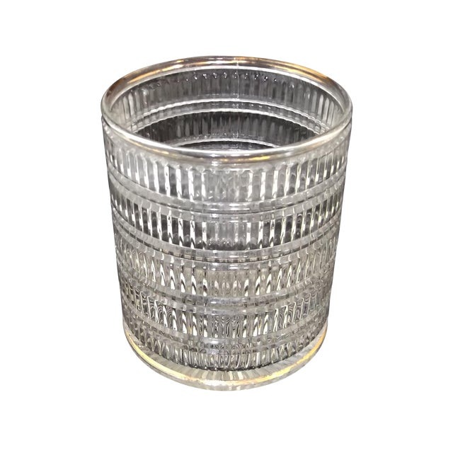 Vintage Art Deco Clear Pattern Glass Ice Bucket For Sale