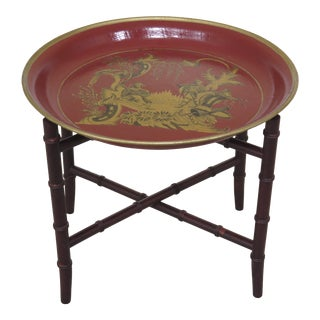 Chinoiserie Toleware Paint Decorated Occasional Table For Sale