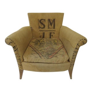 Grain Sacks Upholstered Club Chair For Sale