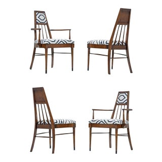Solid Walnut Mid-Century Modern Chairs in Navy and Ivory Fabric For Sale