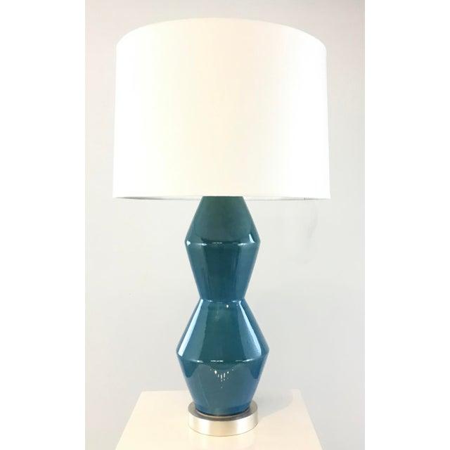 Arteriors Modern Teal Crackle Ceramic Tonto Table Lamp For Sale In Atlanta - Image 6 of 6