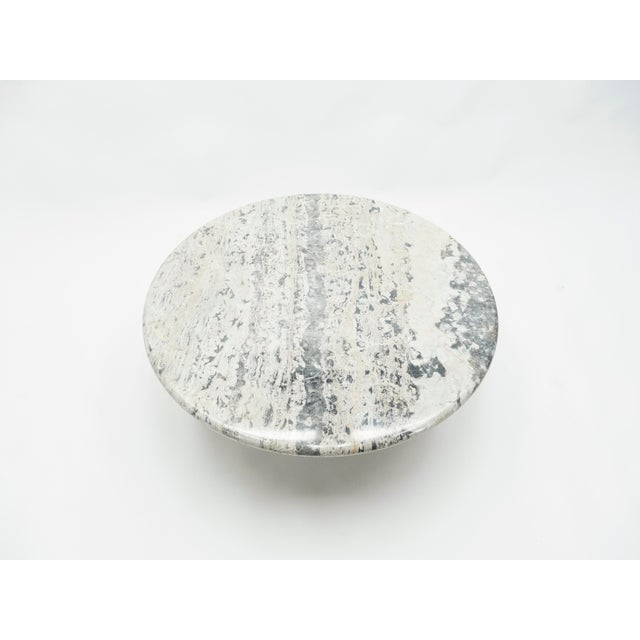 Mid-Century Modern French Round Sicilian Marble Coffee Table For Sale - Image 3 of 13