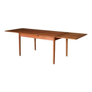 Vintage Danish Expandable Teak Dining Table For Sale