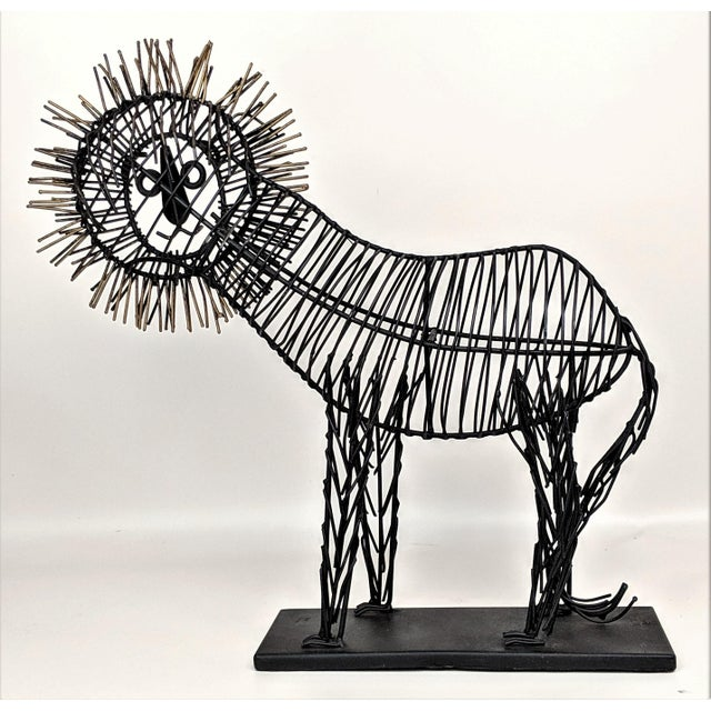 1980s Vintage Lion Wire Sculpture For Sale - Image 5 of 11