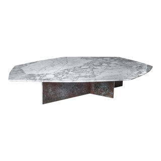 Geometrik Coffee Table, Oxidized Brass and Marble by Atra For Sale
