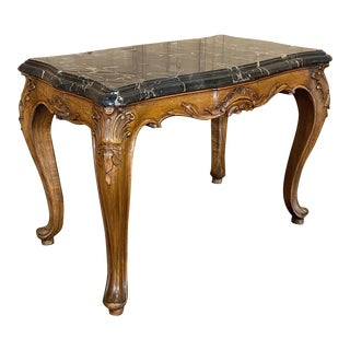 Antique French Louis XV Fruitwood Marble Top Cocktail Table For Sale