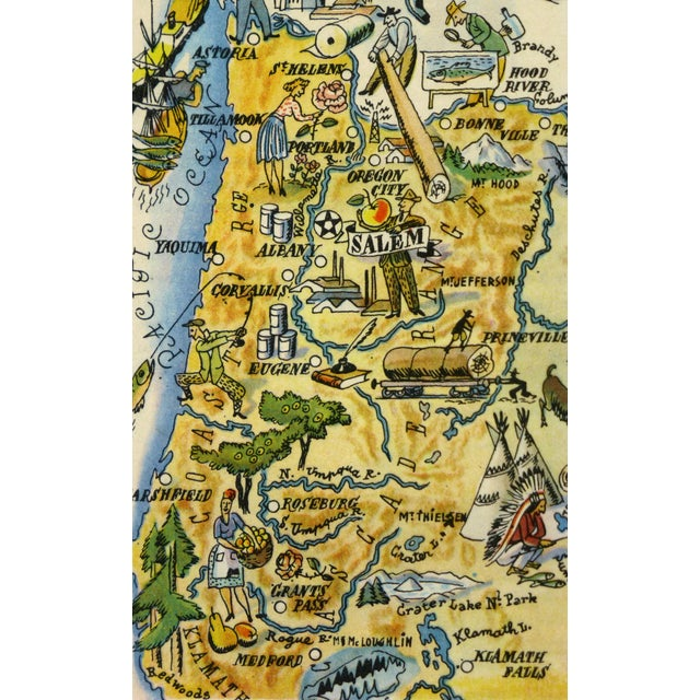 Antique Oregon Pictorial Map, 1946 - Image 2 of 3