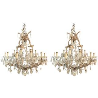 Antique Venetian Twentyone Light Chandeliers - A Pair For Sale