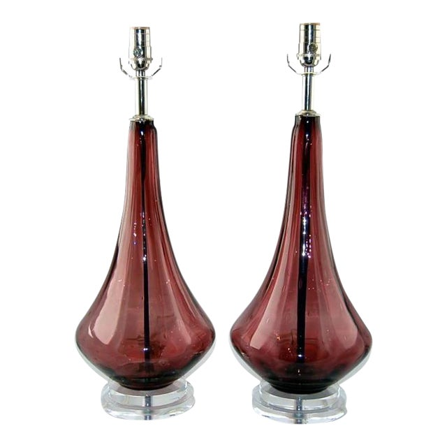 Vintage Murano Glass Petticoat Table Lamps Purple For Sale
