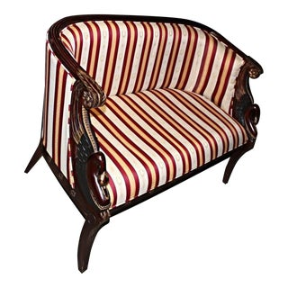 French Empire Style Mahogany Settee For Sale